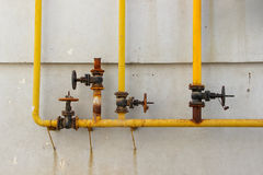 Free System Of The Old Gas Control Valves And Gas Pipes On The Wall Stock Photo - 77969940