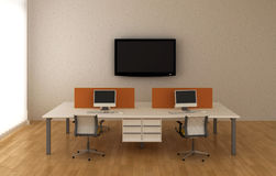 System office desks  in the interior of the office Stock Photos