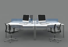 System office desks with partitions Stock Photos