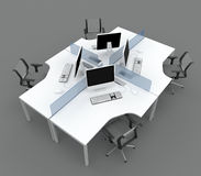 System office desks with partitions Royalty Free Stock Photos