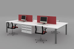 System office desks with partitions Royalty Free Stock Images