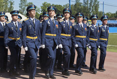 System of officers in the solemn march dedicated to the 305th edition of the A. F. Mozhaisky Military Space Academy Royalty Free Stock Photo