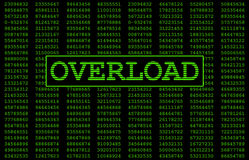 System Overload. Digital numbers in the background with Overload written in large letters representing what this error message would look like on a computer Royalty Free Stock Photos