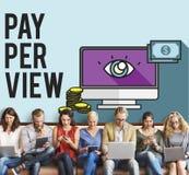 system pay-per-view Magnifier obserwaci Zadowolony pojęcie Zdjęcia Royalty Free