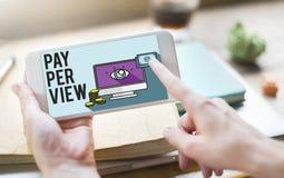 system pay-per-view Magnifier obserwaci Zadowolony pojęcie Obraz Stock