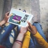 system pay-per-view Magnifier obserwaci Zadowolony pojęcie Fotografia Stock