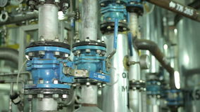 The System Pipe With Valves in Manufacturing stock video