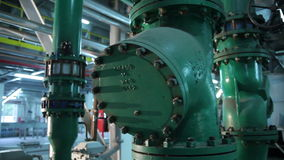 The System Pipe With Valves in Manufacturing stock video footage