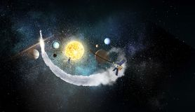 System of planets . Mixed media. Astronomy concept with planets on dark starry background. Mixed media Stock Photo