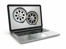 System properties concept. Laptop and gears. Stock Images