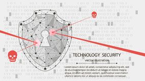 System protection. Cyber security concept: Shield on digital data background.vector illustration. Low poly wireframe background: Shield on digital data vector illustration