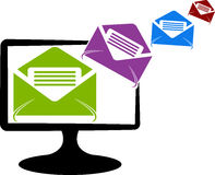 System send mail logo. Illustration art of a system send mail logo with isolated background Stock Photo