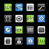 System Settings Interface Glossy Buttons Stock Photo