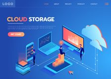 System of technical support. People interacting with the technical cloud storage center. Modern vector illustration. Isometric style stock illustration