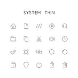 System thin icon set. Home, file, settings, gear, search, folder, sound, clock, check mark, delete, link and others simple vector symbols. Computer signs Stock Image