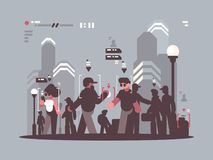 System tracking people in crowd. Spy system tracking people in crowd. Observation and analysis. Vector illustration royalty free illustration