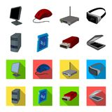 A system unit, a flash drive, a scanner and a SD card. Personal computer set collection icons in cartoon,flat style. Vector symbol stock illustration Stock Photos