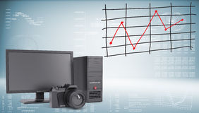 System unit, monitor, camera and graph of price Royalty Free Stock Images