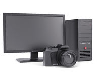 The system unit, monitor and camera Stock Image