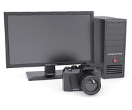 The system unit, monitor and camera Royalty Free Stock Photo