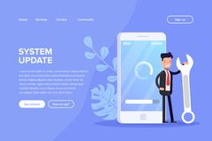 System update vector illustration concept. Cartoon people update operation system can use for, landing page, template royalty free illustration