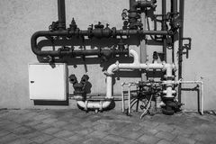System of water supply. Industrial system of water supply and fire fighting in Israel. Black and white picture Stock Photo