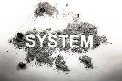 System word written in ash as old vintage bad failed method, pro stock photo