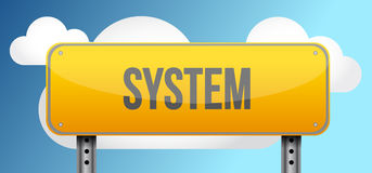 system yellow road sign illustration Stock Photography