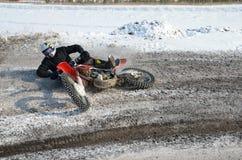 Systemabsturzmotorrad-Mitfahrer Motocross Stockfoto