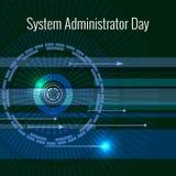 Systemadministratör Day 28 Juli abstrakt bakgrundstechno Bokstäver består av simulering av chiper royaltyfri illustrationer