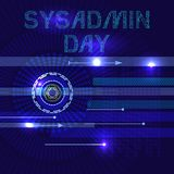 Systemadministratör Day 28 Juli Slangnamnet är sysadminen abstrakt bakgrundstechno Bokstäver består av simulering av chiper stock illustrationer