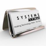 Systemanalytiker-Business Card Holder-Computertechnologie Special Stockfoto