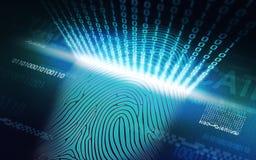 Systemet av fingeravtryckscanningen - biometric säkerhetsapparater royaltyfri foto