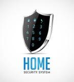 Systemet för hem- säkerhet - ta fram kontrollanten som skyddsskölden Arkivfoto