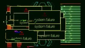 Systemfel poppar ups med på-av signalen, applikationfel djur Systemet missade meddelanden över hela datoren stock illustrationer