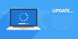 Systemprogramuppdatering och förbättringsbegrepp Päfyllningsprocess i bärbar datorskärm också vektor för coreldrawillustration Arkivbilder