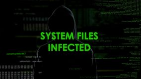 Systems files infected message, silhouette hacker spreading virus in internet stock video
