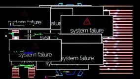 Systemu niepowodzenie strzela ups z sygnałem na, podaniowy błąd animacja System nieudane wiadomości po całym komputer ilustracji