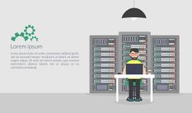 Systemverwalter Vektorillustration in der flachen Art Technologie-Server-Wartungs-Stützbeschreibungen Lizenzfreie Stockfotos