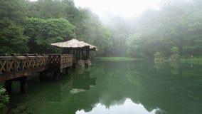 Systerdamm i Alishan nationellt sceniskt omr?de i Taiwan Panoramautsikt av sj?n med gazeboen i Misty Day stock video