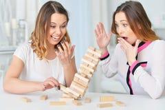 Systrar som spelar med träkvarter Royaltyfria Bilder