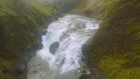 Systrastapi Waterfall and Canyon In Iceland stock video footage