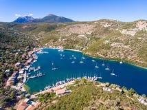 Syvota Lefkada Greece. Panorama aerial view Royalty Free Stock Photos