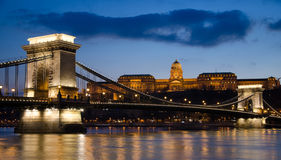 View of the Budapest Chain Bridge at Night. Royalty Free Stock Images