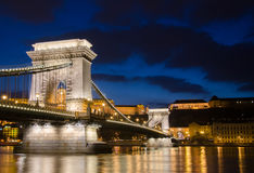 View of the Budapest Chain Bridge at Night. Stock Photography