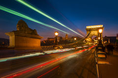 Széchenyi den Chain bron i Budapest, Ungern Arkivfoton