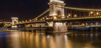 Széchenyi nocy most, Budapest obrazy royalty free