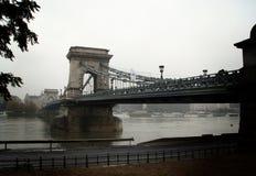 Széchenyi塞切尼链桥在布达佩斯,匈牙利 免版税图库摄影