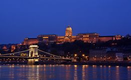 The chain bridge and Buda castle in Budapest at sunset. stock images