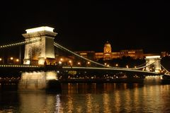 The chain bridge and Buda castle in Budapest at night. stock image